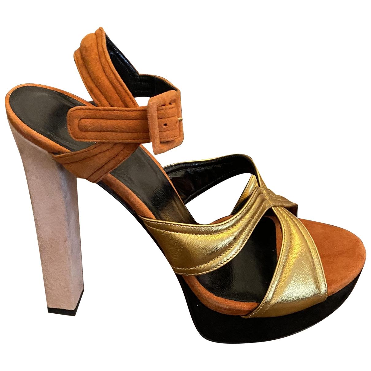 Gucci - Sandales   pour femme en suede - orange