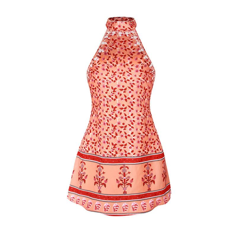 Womens' Bohemian Style Red Colour Sleeveless Summer Beach Wear Cover up Beach Dress
