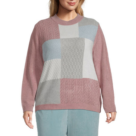 Alfred Dunner-Plus St Moritz Womens Crew Neck Long Sleeve Geometric Pullover Sweater, 3x , Black
