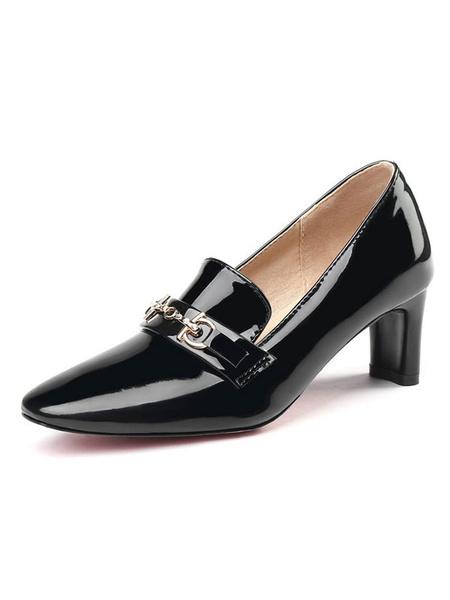 Milanoo Women Dress Shoes Square Toe Metal Detail Chunky Heel Pumps