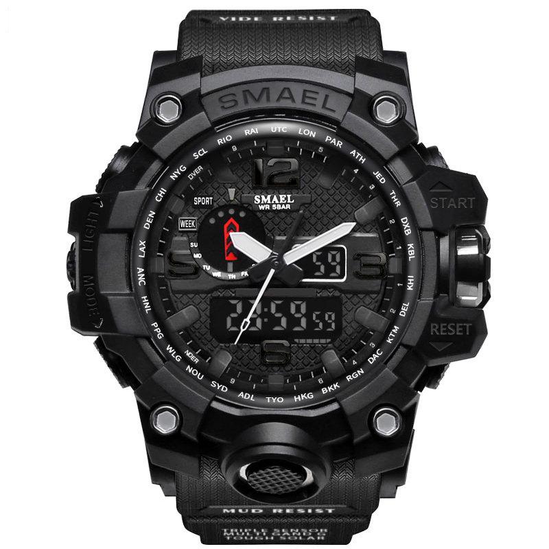 Sport Analog Digital Watch Pure Color Band Dual Display Waterproof Quartz Watch