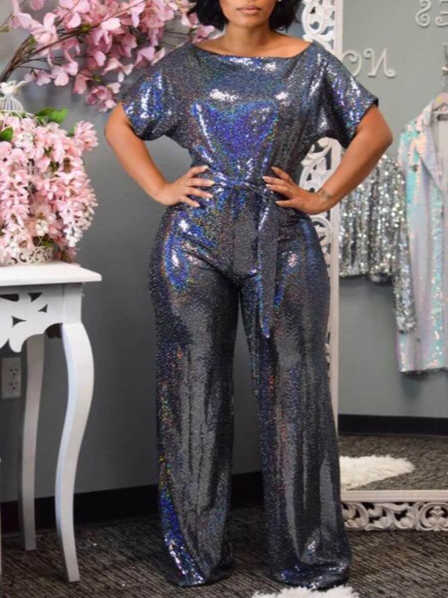 LW Lovely Stylish Lace-up Blue One-piece Jumpsuit