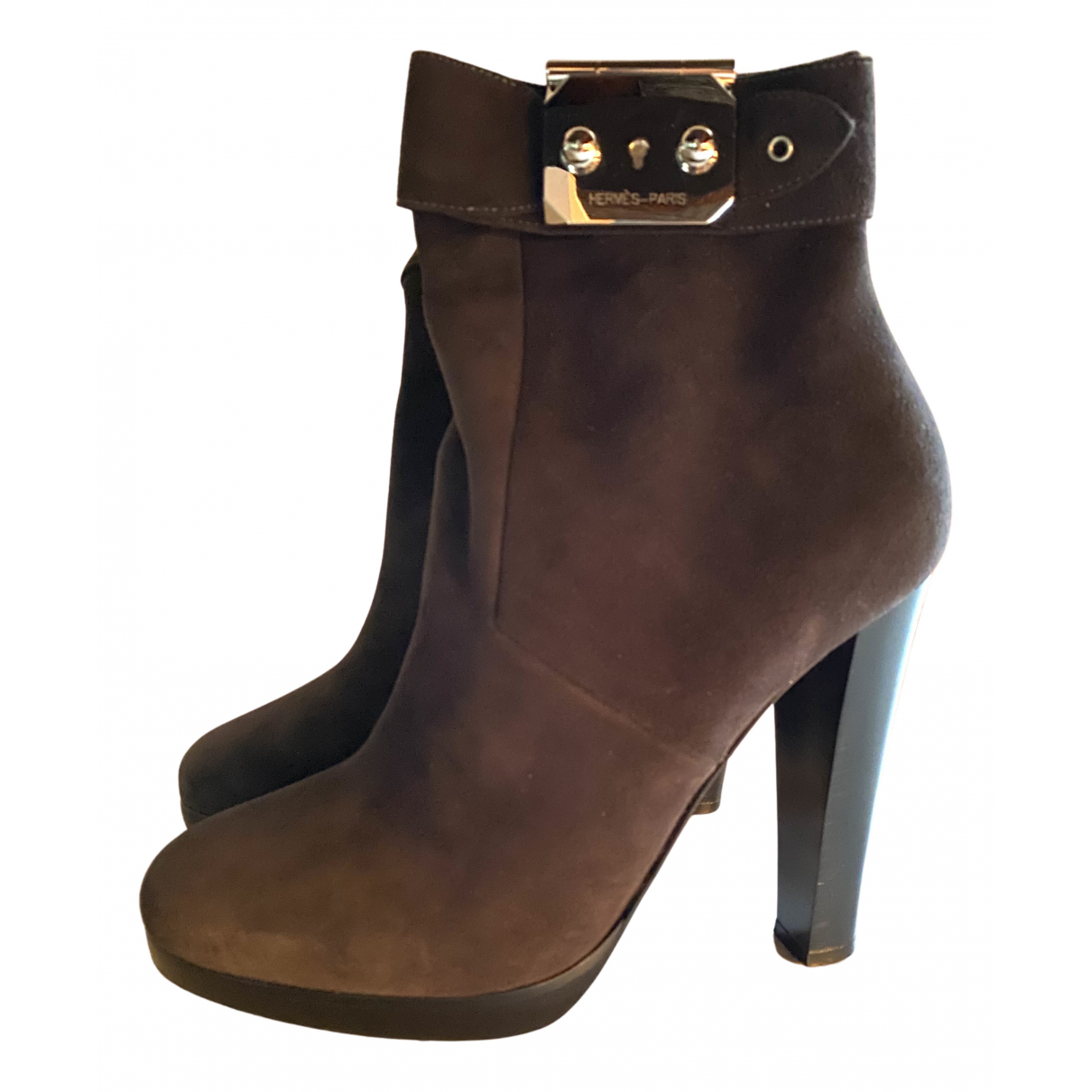Hermès N Grey Suede Ankle boots for Women 39 EU