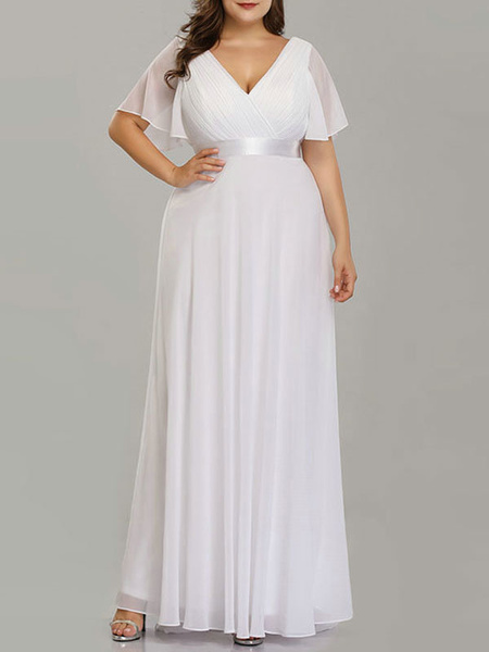 Milanoo Simple Wedding Dress V Neck Short Sleeves A Line Floor Length Chiffon Sash Plus Size Bridal Gowns With Sweep Train