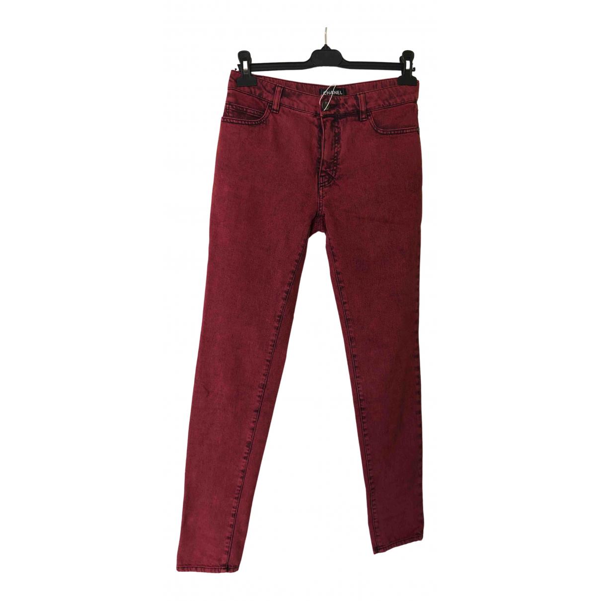 Chanel \N Burgundy Cotton - elasthane Jeans for Women 40 FR