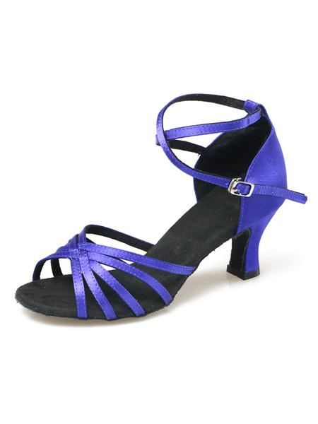 Milanoo Zapatos baile latino Open Toe tobillo correa saten salon de baile zapatos
