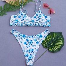 Floral Frill Hem High Cut Bikini Swimsuit
