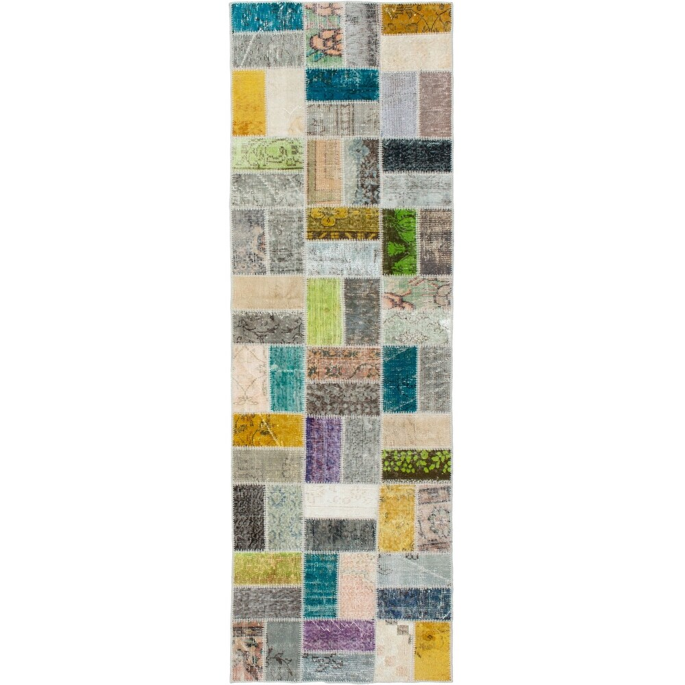 ECARPETGALLERY Hand-knotted Color Transition Patchwork Multi Wool Rug - 2'9 x 9'7 (Multi Color - 2'9 x 9'7)
