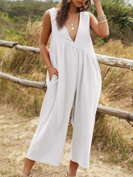 Milanoo White Women Jumpsuit V-Neck Sleeveless Oversized Cotton Playsuit With Pockets