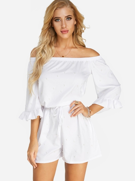 Yoins White Polka Dot Lace-up Off The Shoulder Mini Playsuits