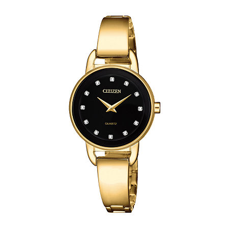 Citizen Womens Gold Tone Stainless Steel Bangle Watch-Ez6372-69e, One Size , No Color Family