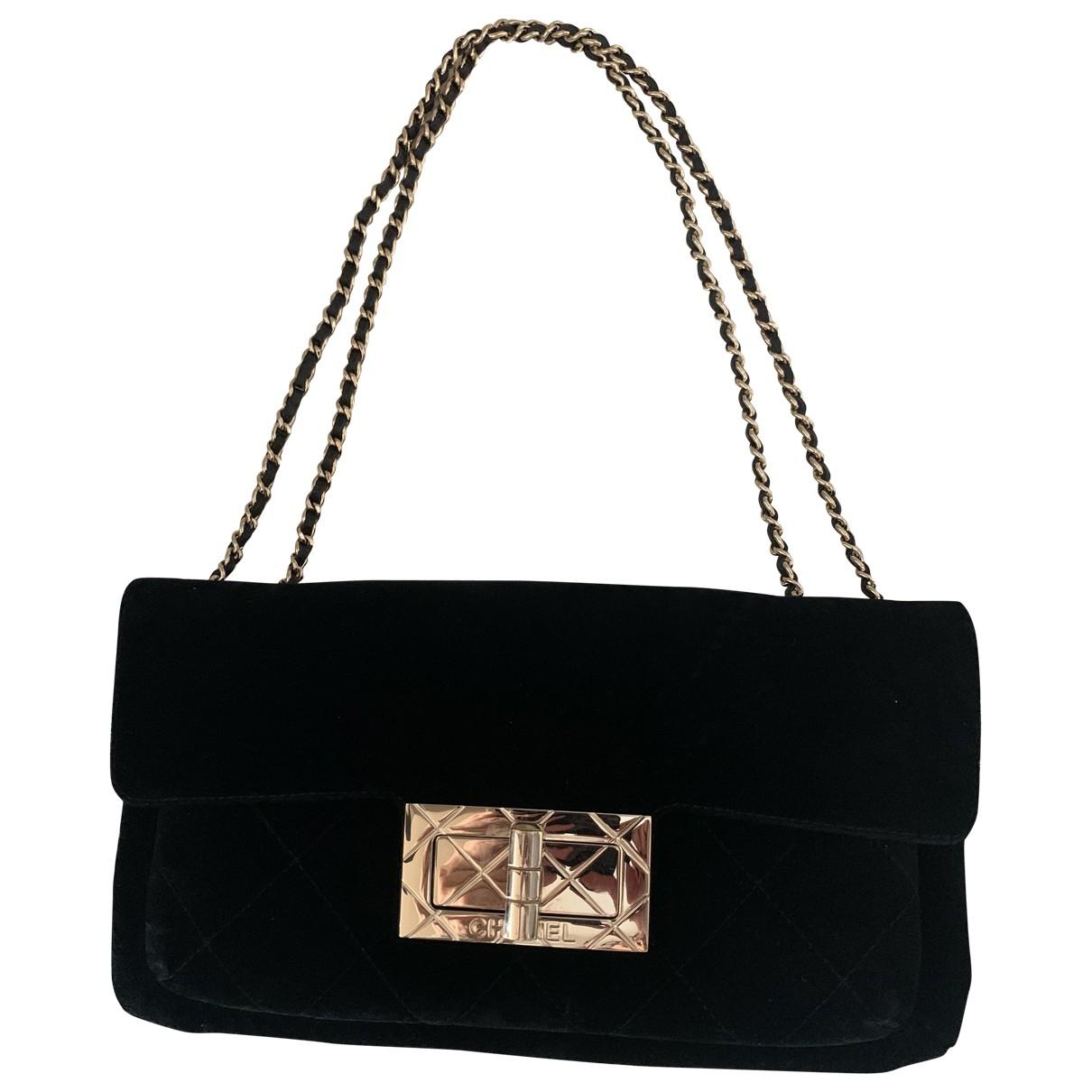 Chanel - Sac a main   pour femme en velours - noir