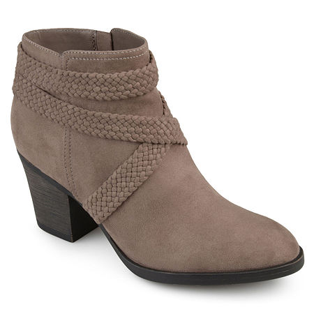 Journee Collection Womens Seneca Booties Stacked Heel, 8 1/2 Medium, Brown