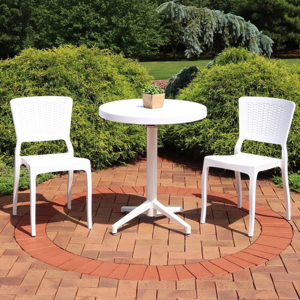 Sunnydaze All-Weather Hewitt 3-Piece Indoor/Outdoor Table and Chairs - White - White (White White White)