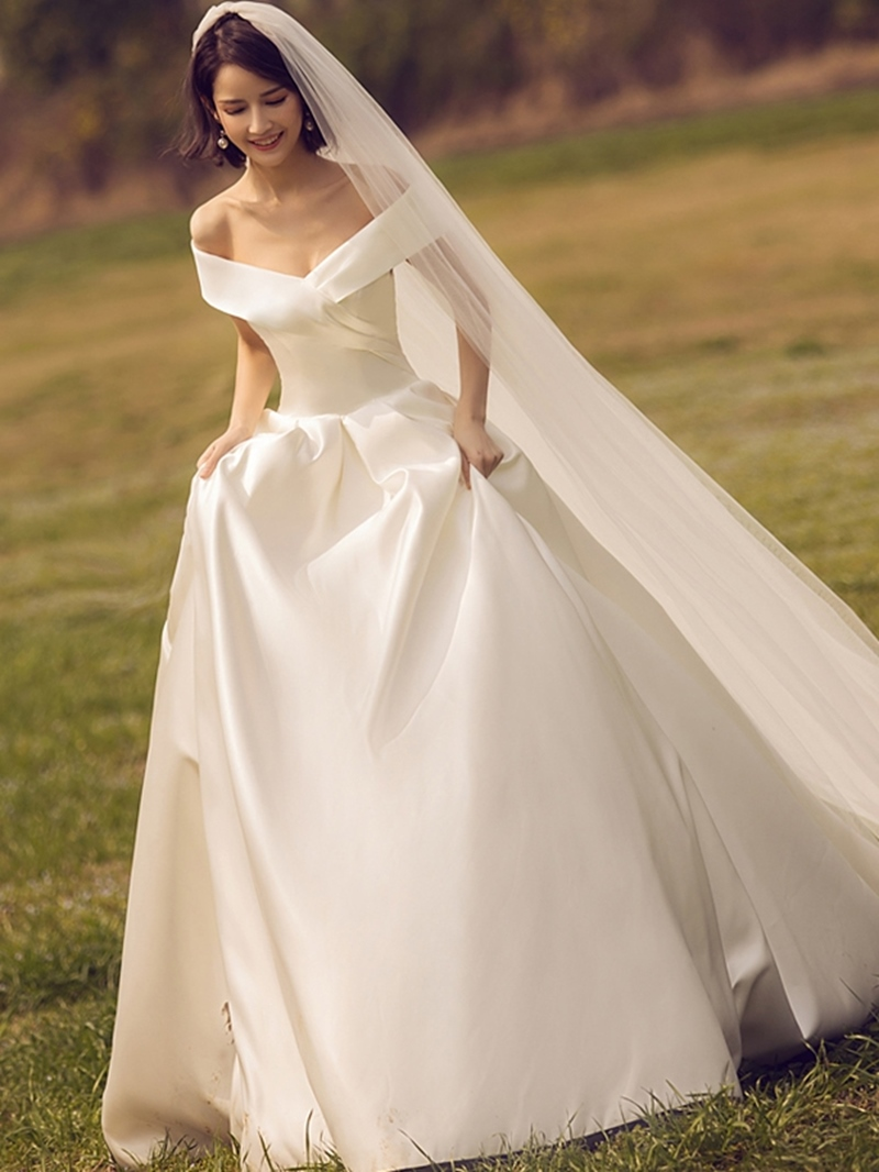 Ericdress Off the Shoulder Cathedral Train Ball Gown Wedding Dress