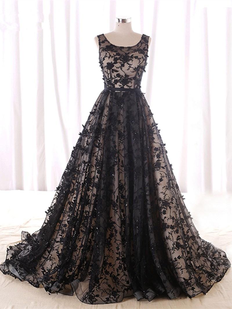 Ericdress A-Line Strapless Beading Lace Court Train Evening Dress