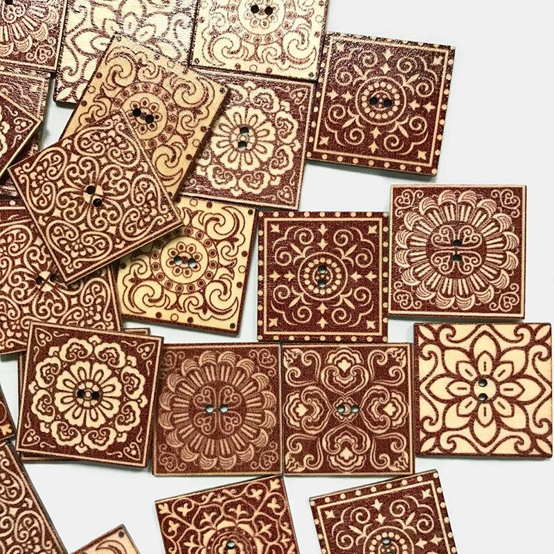 50 pcs Wooden Retro Pattern Buttons Square Chip European Decorative Accessories DIY Handmade Buttons