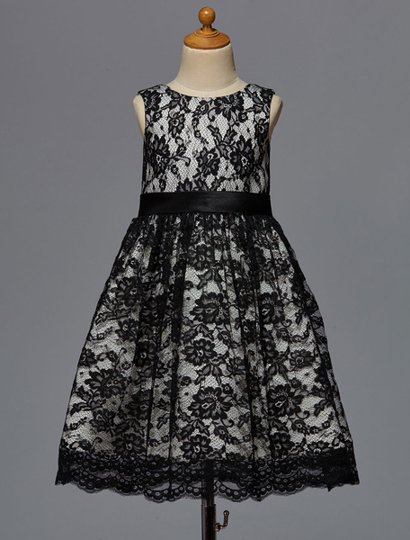 Milanoo Black Flower Girl Dress With Sash Lace Satin