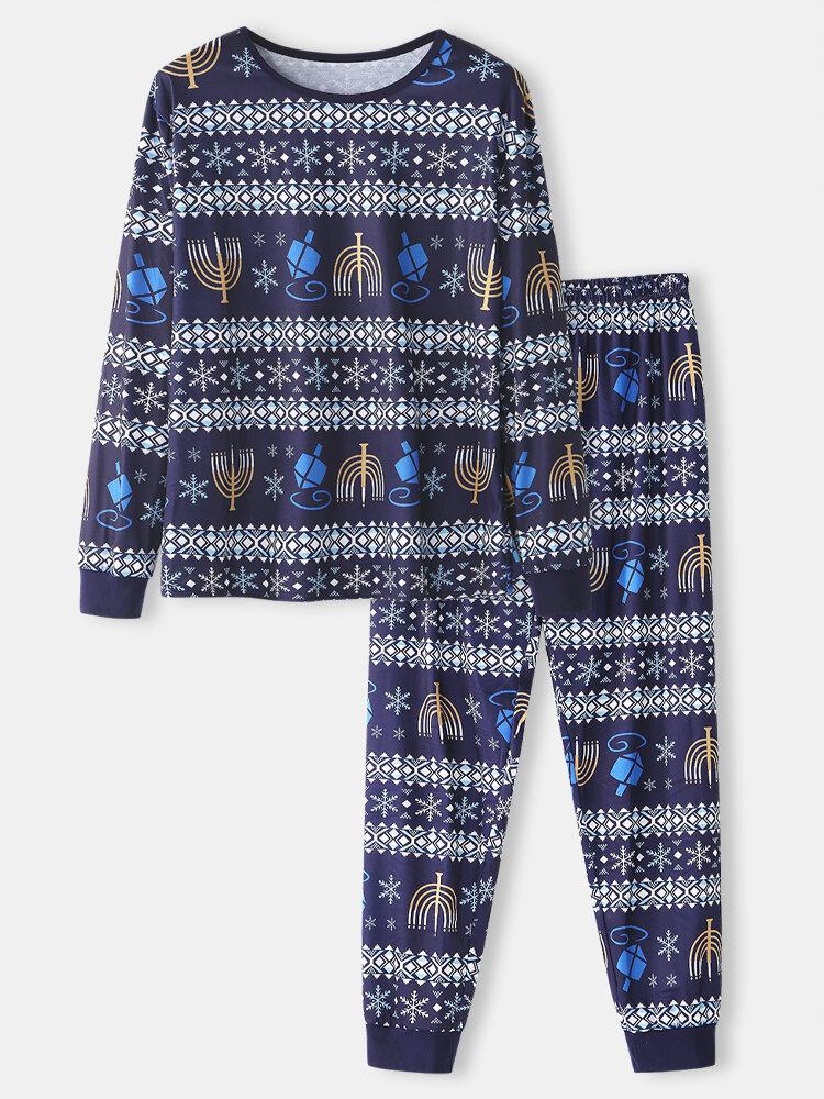 Christmas Pattern Printed Two-Piece Comfortable Sleepwear Jogger Pants Family Set