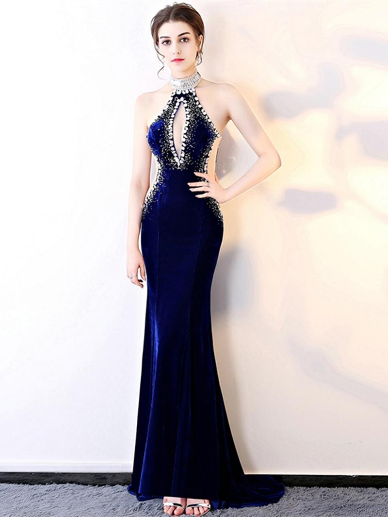 Ericdress Halter Velvet Backless Prom Dress With Beadings