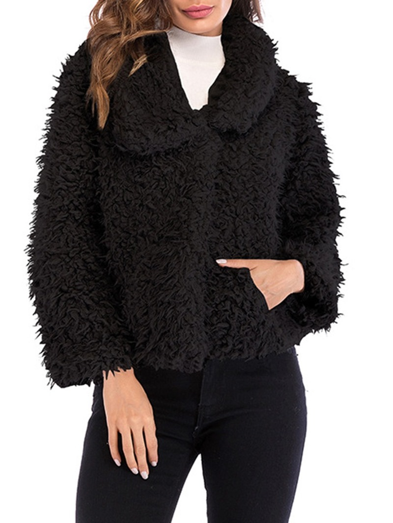 Ericdress Lapel Loose Plain Long Sleeves Teddy Coat