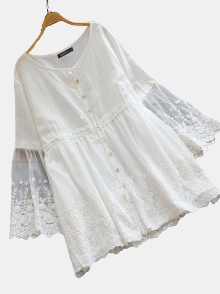 Print Patchwork Long Lace Sleeve Plus Size Blouse