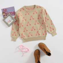 Girls Allover Cherry Print Sweater