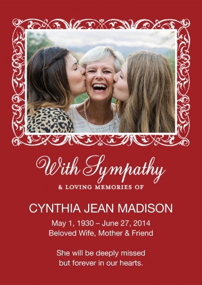 Sympathy 5x7 Cards, Standard Cardstock 85lb, Card & Stationery -Sympathy Ornate Frame