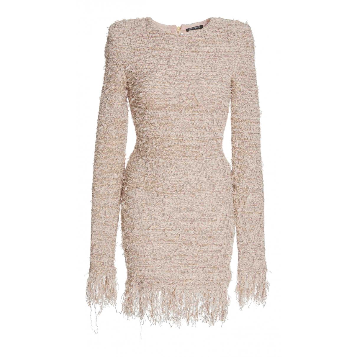 Balmain \N Kleid in  Beige Tweed
