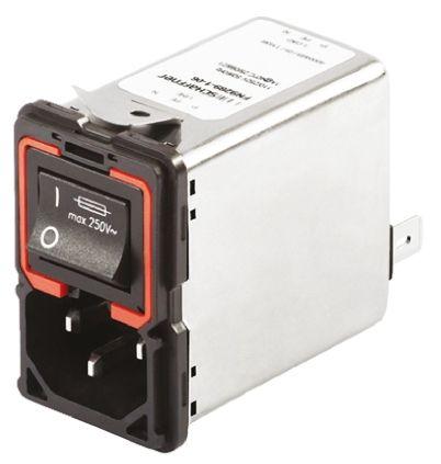 Schaffner ,10A,250 V ac Male Panel Mount IEC Filter 2 Pole FN9289-10-06,Solder, Spade 2 Fuse
