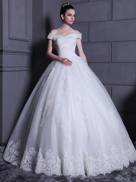 Milanoo Floor-Length Off-The-Shoulder Wedding Dress