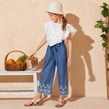 Girls Exaggerate Ruffle Trim Top and Paperbag Waist Pants Set