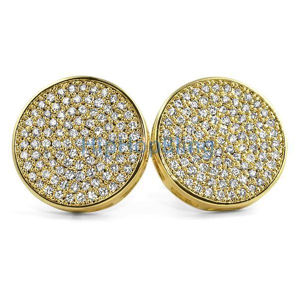 Jumbo Circle Gold Micro Pave CZ Bling Bling Earrings