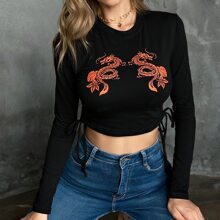 Chinese Dragon And Floral Print Drawstring Side Crop Tee