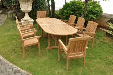 Sahara Collection SET-75 9-Piece Dining Set with 106 Oval Double Extension Table and 8 Stacking