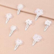 8 piezas horquilla de niñitas con diseño de flor