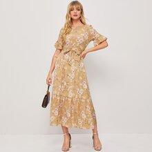 Ruffle Hem Floral Belted Dress
