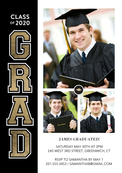 Graduation Announcements 5x7 Cards, Premium Cardstock 120lb with Scalloped Corners, Card & Stationery -Class of 2020 Vertical Grad by Tumbalina