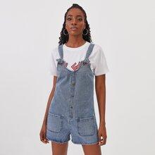 Denim Overall Shorts mit Knopfen vorn und Taschen Flicken