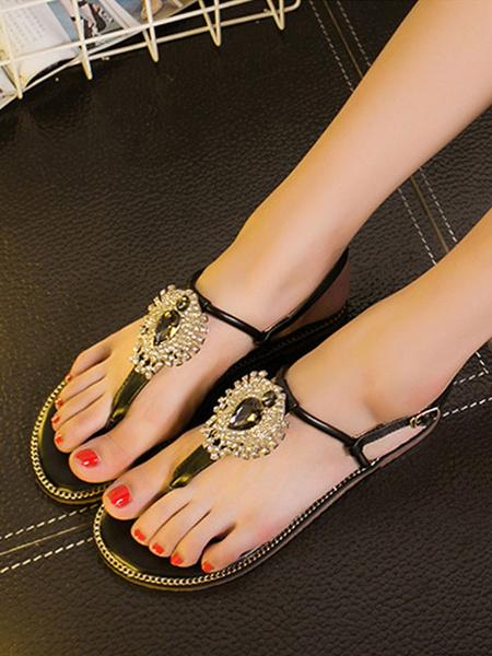 Milanoo Womens Sandals Flat Rhinestones Chic Open Toe Green Starp Sandals