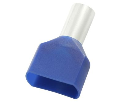 RS PRO Insulated Crimp Bootlace Ferrule, 8mm Pin Length, 2.1mm Pin Diameter, 2 x 0.75mm² Wire Size, Blue (100)