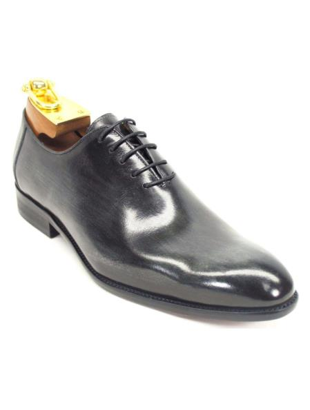 Carrucci Men's Charcoal Lace Up Genuine Calfskin Leather Oxford Shoes