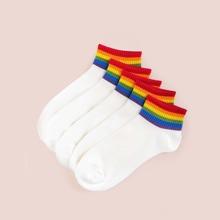 5 Paare Socken mit Regenbogen Streifen