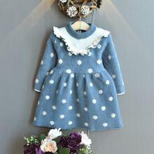 Vestidos jersey de niñita Volante Lunares Casual