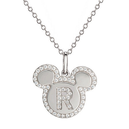 Disney Girls Lab Created White Cubic Zirconia Sterling Silver Mickey Mouse Pendant Necklace, One Size , No Color Family