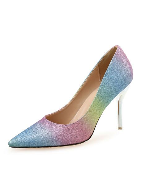 Milanoo High Heel Sandals Women Open Toe Slip On Pumps Glitter Party Shoes