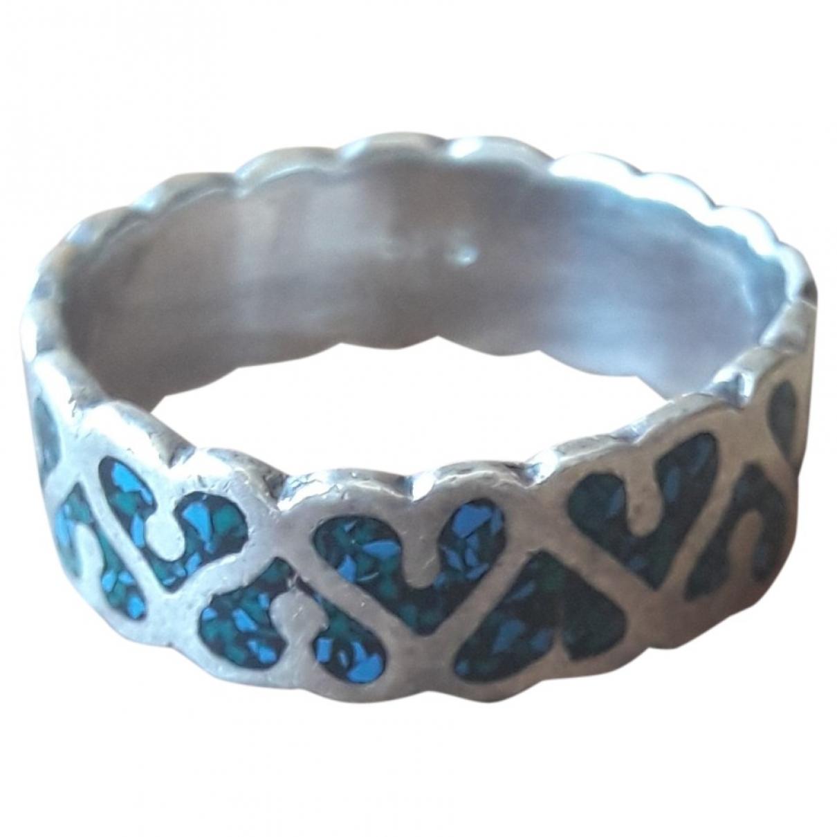 - Bague Motifs Coeurs pour femme en argent - bleu