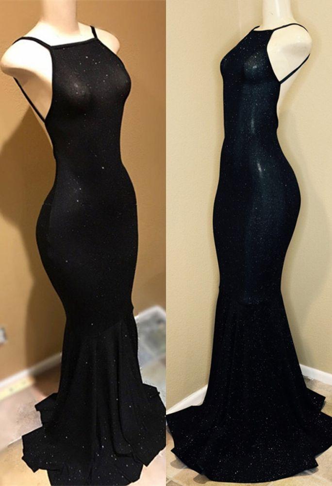 Vestido de fiesta negro sin respaldo, lentejuelas vestidos de noche BA9013