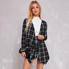 Mantel mit offener Vorderseite, asymmetrischem Saum und Karo Muster