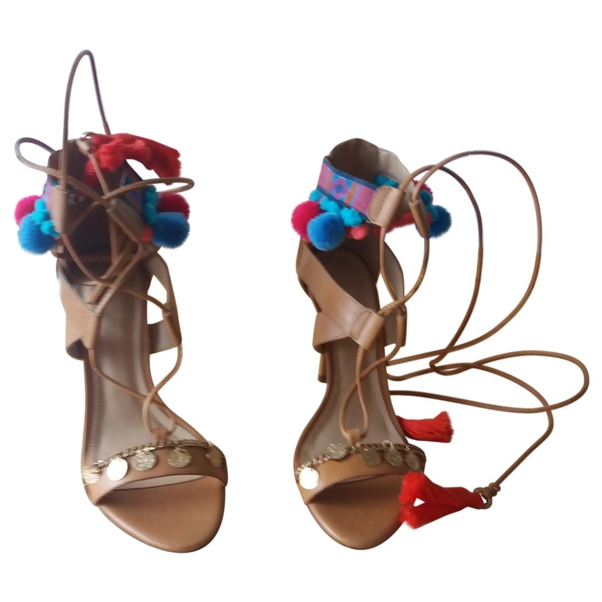 - Escarpins   pour femme en cuir - camel